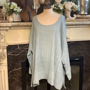 Soft Surroundings soft blue cotton tunic top